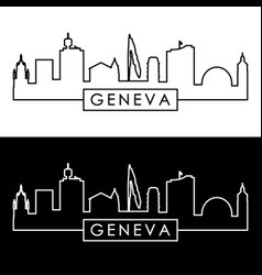 geneva skyline linear style editable file vector image