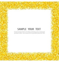 Gold glitter background frame sparkles on white vector image