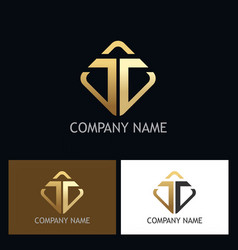 gold letter t company logo vector image