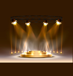 Gold podium is winner or popular on light vector