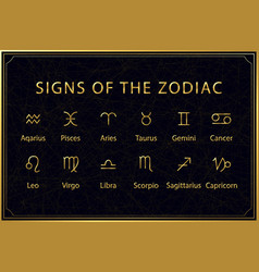 golden signs zodiac on dark background sacred vector image