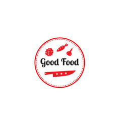 Good food logo design templategraphic knife and vector