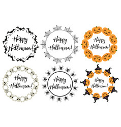 halloween round frame for text isolated on white vector image