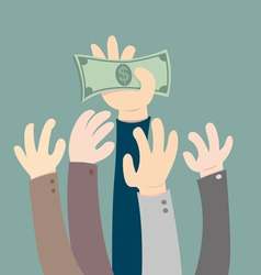 Hand holding dollar vector image