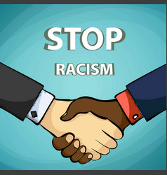 handshake of friends stop racism vector image