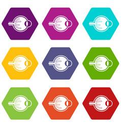 human eyeball icon set color hexahedron vector image