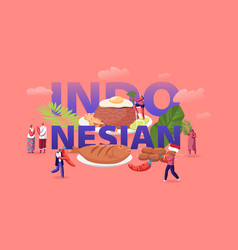 Indonesian cuisine concept tiny male and female vector