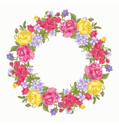 Invitation card with floral round wreath vector