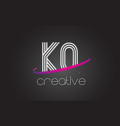 kq k q letter logo with lines design and purple vector image