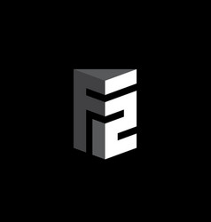 letter f and number 2 - monogram or logotype f2 vector image