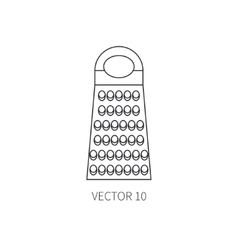 Line flat kitchenware icons - grater vector