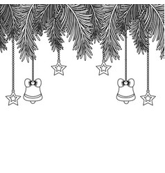 Line garland with bells and stars hanging vector