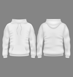 Men white blank hoodie in front and back view vector