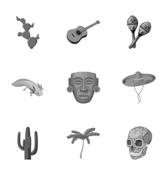 Mexico country set icons in monochrome style Big vector image