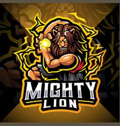 mighty lion esport mascot logo design vector image
