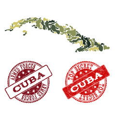 military camouflage collage of map of cuba island vector image