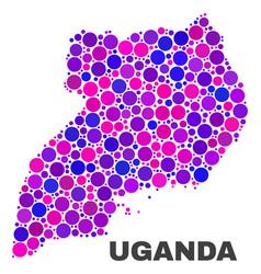 mosaic uganda map of round dots vector image