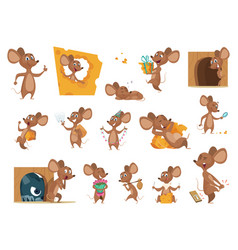 mouse cartoon small mice in action poses lab vector image