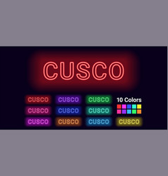 Neon name of cusco city vector