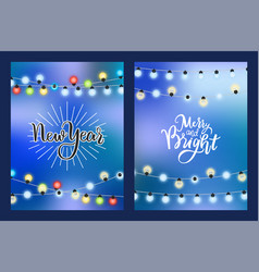 new year merry bright winter holiday card garland vector image