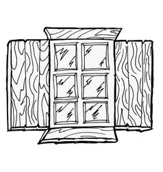 Old wooden window vector