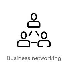 outline business networking icon isolated black vector image