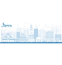 Outline Izmir Skyline with Blue Buildings vector