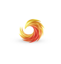 phoenix bird and fire colorful icon vector image