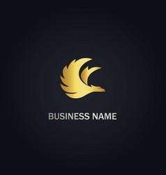 phoenix bird fly gold logo vector image