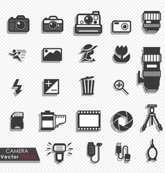 Photography camera lens icons set vector image