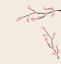Pink floral branch background vector