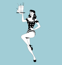 pinup girl carrying a tray with smoothies ice vector image