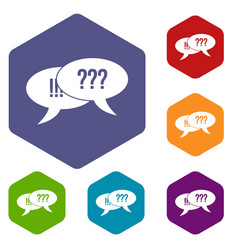 Question and exclamation icons set vector