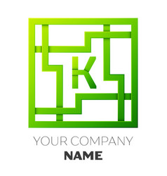 Realistic letter k symbol in colorful square maze vector