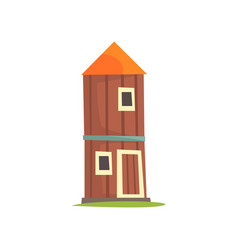 Red agricultural tower cilo wooden farm building vector