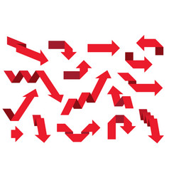 red paper arrows set vector image