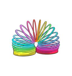 retro 90s style rainbow colored plastic spring vector image