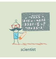 scientist wrote on the blackboard formula vector image vector image
