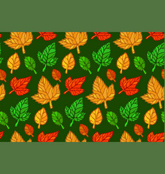 seamless floral pattern with various autumn leaves vector image