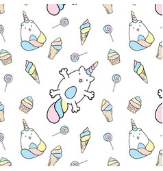Seamless pattern with unicorn cats and sweets vector