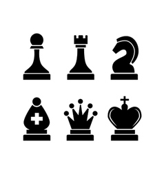 set black simple chess icons on white vector image