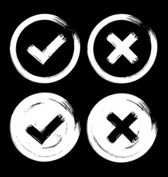 set of white check mark icons on dark black vector image