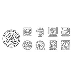 shrimp icon set outline style vector image
