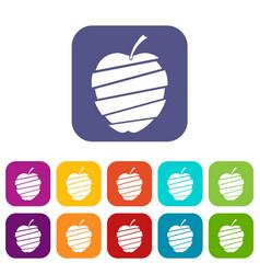 Sliced apple icons set flat vector
