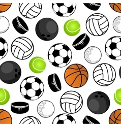 Sports balls and hockey pucks pattern vector image
