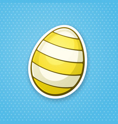 sticker yellow easter egg with stripped pattern vector image
