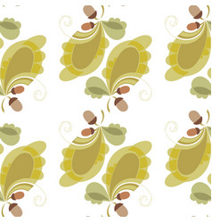 Stylized oak leaves and acorns background vector
