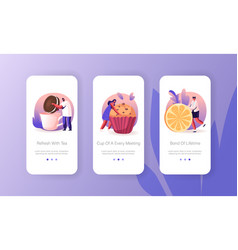 Tea party or holiday celebration mobile app page vector