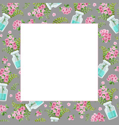 template with a bouquet pink flowers vector image