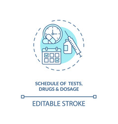 Tests drugs and dosage schedule concept icon vector